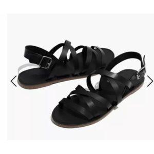 Madewell Black Boardwalk Leather Sandal 7.5